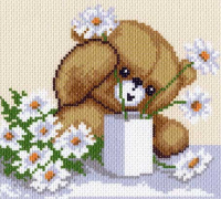 "Канва с рисунком 20х22см Матренин посад, ""Цветы для мамы"""