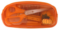 Набор швейный в прозрачном пластиковом кошельке на молнии оранжевый