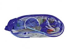 Набор швейный в прозрачном пластиковом кошельке на молнии синий
