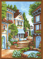 "Рисунок на канве 37х49см арт.662 ""Цветущий дворик"""