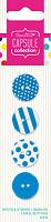 Набор пуговиц Spots & Stripes Brights - Blue 4 шт, синий