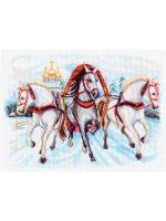 "Рисунок на канве 37х49см арт.1539 ""Тройка лошадей"""