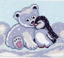 """Канва с рисунком 20х22см Матренин посад, """"Мишка и пингвин"""""""