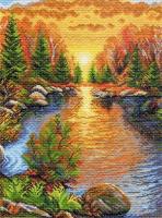 """Рисунок на канве 37х49см арт.1391 """"Отдых в карелии, композиция"""""""