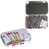 Булавки декоративные с перламутровыми головками в жестяной коробочке, 200 шт