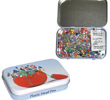 Булавки декоративные с пластиковыми головками в жестяной коробочке, 200 шт