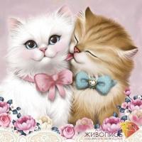 """Картина стразами """"Кот и кошка"""""""