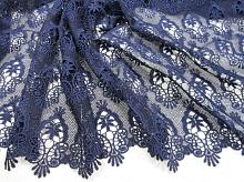 Кружевная ткань темно-синяя, дизайн DOLCE&GABBANA