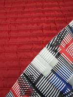 Стеганная ткань с подкладкой, цвет абстракция/красный