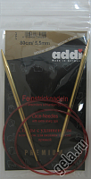 Спицы, круговые, с удлиненным кончиком, позолоченные, №5,5, 80 см