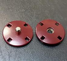 Кнопка пришивная металлическая бордовая, 20 мм