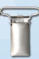 Зажим для подтяжек металлический 25 мм, серебро
