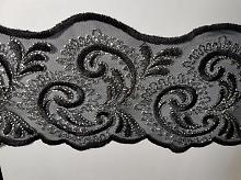 Кружево на сетке двусторонее черно-серебряное