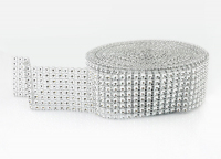 Тесьма декоративная имитация страз, серебро 4 см.