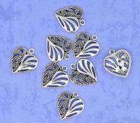 Подвеска сердце античное серебро