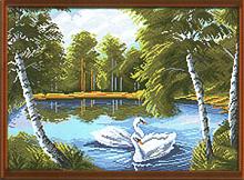 """Рисунок на канве 37х49см арт.923 """"Тихая заводь"""""""