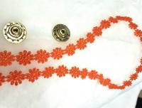 Кружево узкое ромашки оранжевые