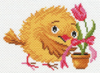 "Канва с рисунком 16х20см Матренин посад ""Цыпленок с тюльпаном"""