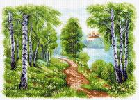 "Рисунок на канве 37х49см арт.1513 ""Храм у озера"""