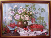 """Рисунок на канве 37х49см арт.1232 """"Натюрморт с ягодами"""""""