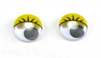 Глаза круглые желтые с бегающими зрачками