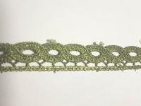 Кружево вязаное волна зеленое