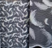 "Тюль жаккардовый, белый ""перья"", выс.150 (цена за 1м)"