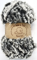 Пряжа Fancy fur (Фанси фе), цвет 9991 черно-серый меланж