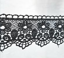 Кружево вязаное черное 4,5см