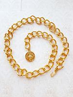 Цепь декоративная золотая с подвеской, размер 90 см.