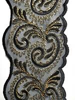 Кружево на сетке двусторонее черно-золотое