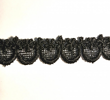 Кружево вязаное  черное 16 мм