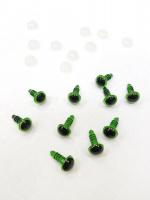 Глаза кристальные зеленые с шайбами 6 мм, 5 пар