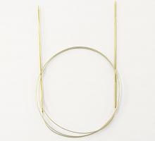 Спицы, круговые, с удлиненным кончиком, позолоченные, №2,25, 100 см