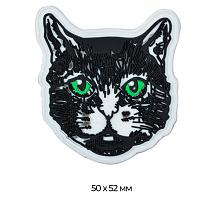 Аппликация пришивная кот черно-белый резиновый