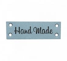 Бирка кожаная пришивная 'Hand Made' голубая