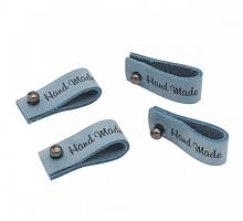 Бирка кожаная с кнопкой 'Hand Made' голубая (1 штука)