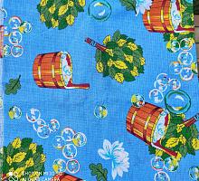 Вафельное полотно 1.5м баня на голубом ( цена за метр)