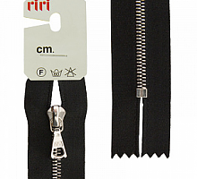 Молния riri атлас.,неразъем., 1замок 4мм,18см, подвеска FLASH,  Ni, цвет 2110 черный