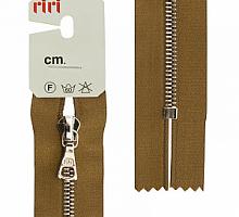 Молния riri атлас.,неразъем., 1замок 4мм,16см, подвески FLASH,  Ni, цвет светло-коричневый
