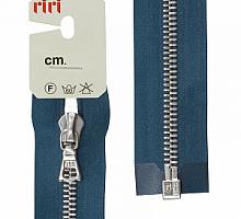 Молнии RIRI металл. NI, 6 мм, 60 см, на атласе, 1 замок разъем, подвеска FLASH 2131 темно-синий