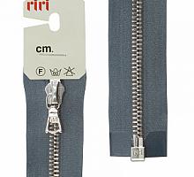 Молнии RIRI (рири) металл. NI, 6 мм, 60 см, на атласе, 1 замок разъемный, подвеска FLASH 2121 серый стальной