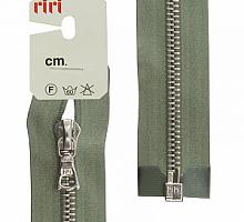 Молнии RIRI металл. NI, 6 мм, 60 см, на атласной тесьме, 1 замок разъемный, тип подвески FLASH 5884 оливковый