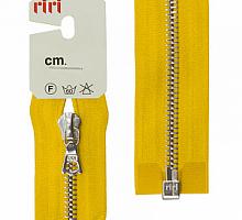 Молнии RIRI металл. NI, 6 мм, 60 см, на атласной тесьме, 1 замок разъемный, тип подвески FLASH 5339 горчица