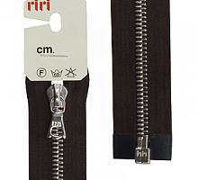 Молнии RIRI металл. NI, 6 мм, 60 см, на атласе, 1 замок разъемный, подвеска FLASH, 2226 темный шоколад