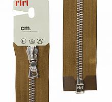 Молнии RIRI металл. NI, 6 мм, 60 см, на атласной тесьме, 1 замок разъемный, тип подвески FLASH 2223 светло-коричневый
