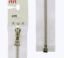 Молния riri атлас. никель,разъем., 1замок 4мм, 65см, тип подвески FLASH, цвет цепи Ni, цвет белый
