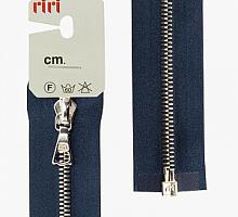 Молния riri атлас. никель,разъем., 1замок 4мм, 65см, тип подвески FLASH, цвет цепи Ni, цвет темно-синий