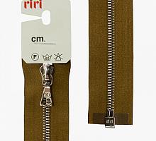 Молния riri атлас. никель,разъем., 1замок 4мм, 60см, тип подвески FLASH, цвет цепи Ni, цвет светло-коричневый