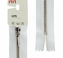 Молния RIRI ТОП-СТАР металл неразъемная, 3 мм, 18 см, тип подвески TROPF, цвет цепи Ni, цвет 2101 белый